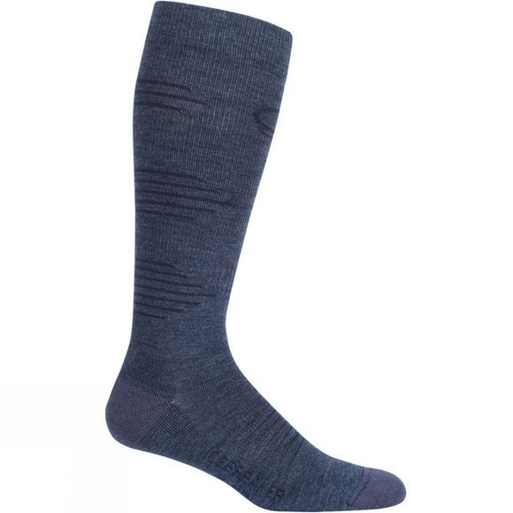 Icebreaker Mens Hike+ Light Cushion Compression OTC Sock Fathom Hthr/Midnight Navy