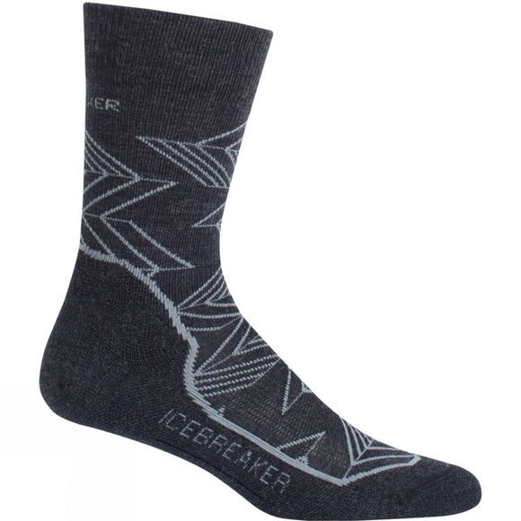 Icebreaker Mens Hike+ Light Crew Intersecting Arrows Sock Jet Hthr/Twister Hthr/Black