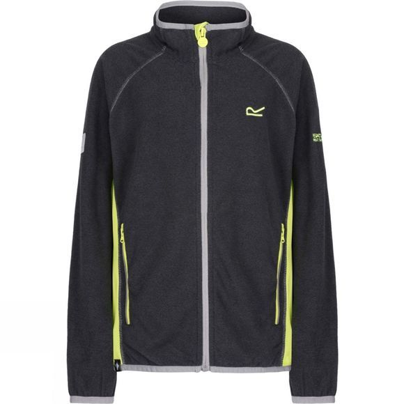 Regatta Boys Pira Full Zip Fleece Jacket Seal Grey/Lime Zest