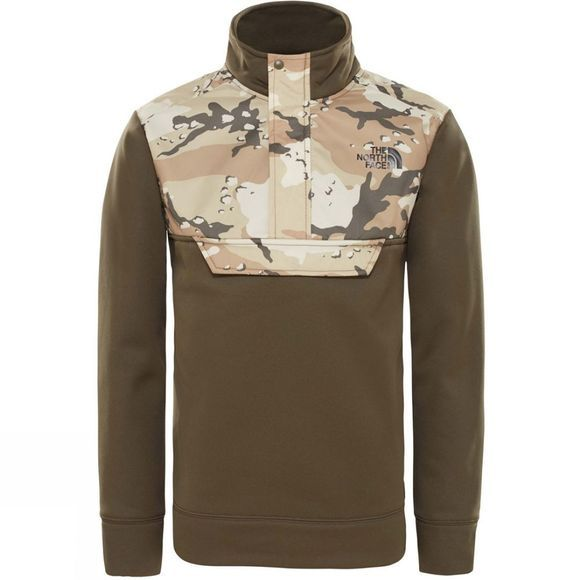 The North Face Boys Surgent 1/4 Zip Fleece New Taupe Green Desert Youth Print