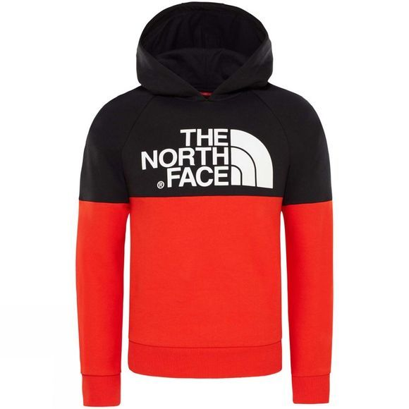 The North Face Youth Drew Peak Raglan Hoodie Age 14+ Fiery Red / TNF Black
