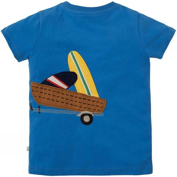 Frugi Childrens James Applique T-Shirt Sail Blue/Tractor SS19