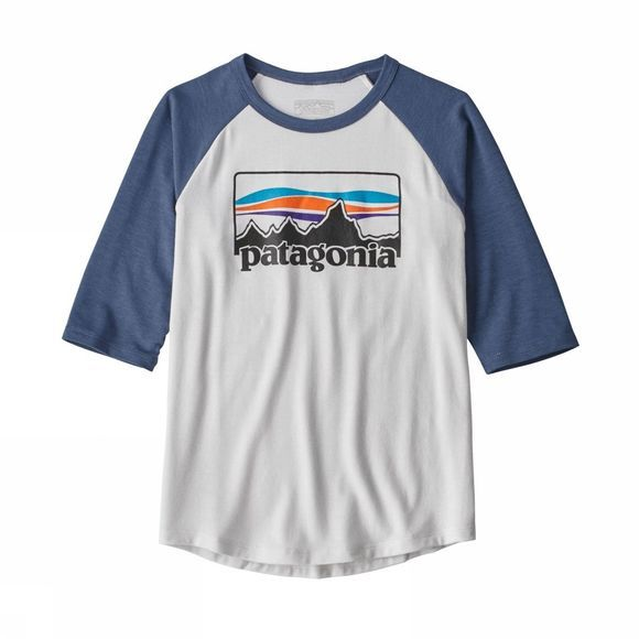 Patagonia  Boys 1/2 Sleeved Graphic tee White/Dolomite Blue