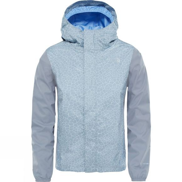 The North Face Girl's Resolve Reflective Jacket Mid Grey Crackle Print