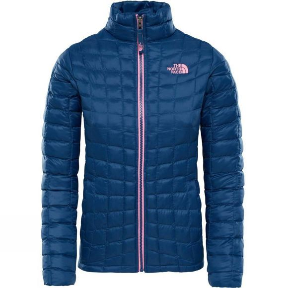 The North Face Girls ThermoBall Full Zip Jacket Blue Wing Teal Leaf Print