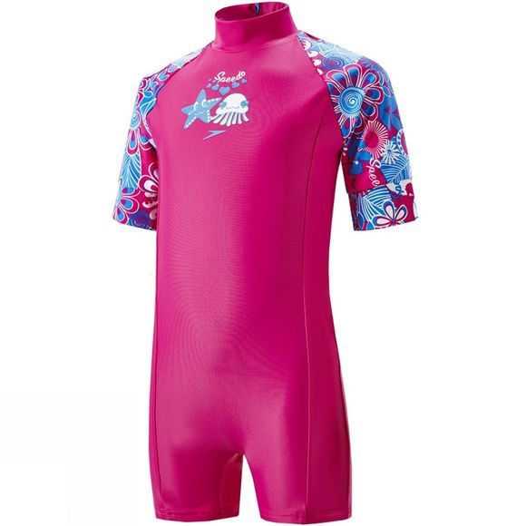 Speedo Kids Fantasy Flower Essential All In One Suit Electric Pink/ Neon Blue