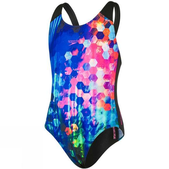 Speedo Girls Placement Digital Splashback Swimsuit Black/New Surf/Rose Violet