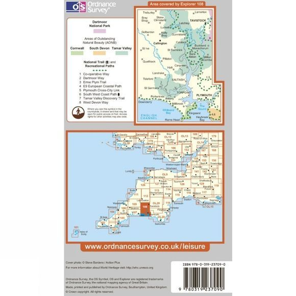 Ordnance Survey Explorer Map 108 Lower Tamar Valley and Plymouth .