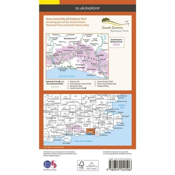 Ordnance Survey Explorer Map OL11 Brighton and Hove V15