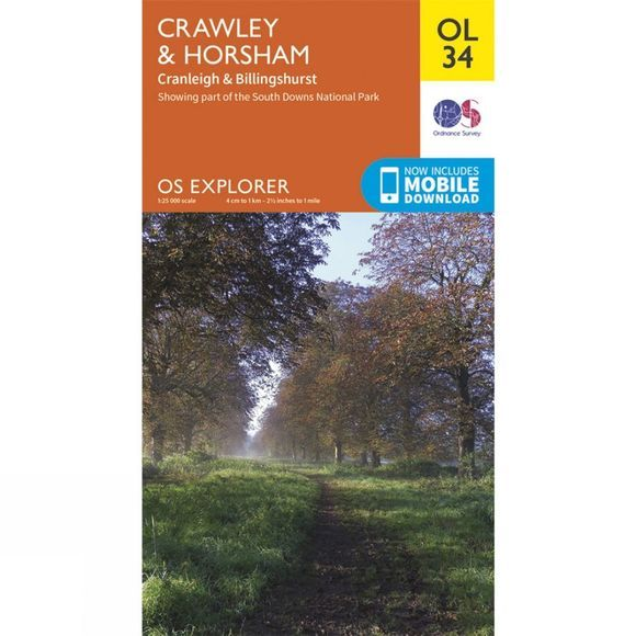 Ordnance Survey Explorer Map OL34 Crawley and Horsham V15