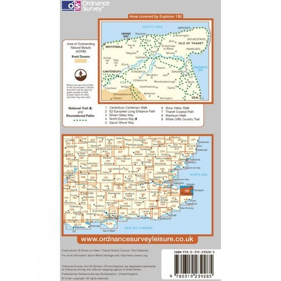 Ordnance Survey Explorer Map 150 Canterbury and the Isle of Thanet .