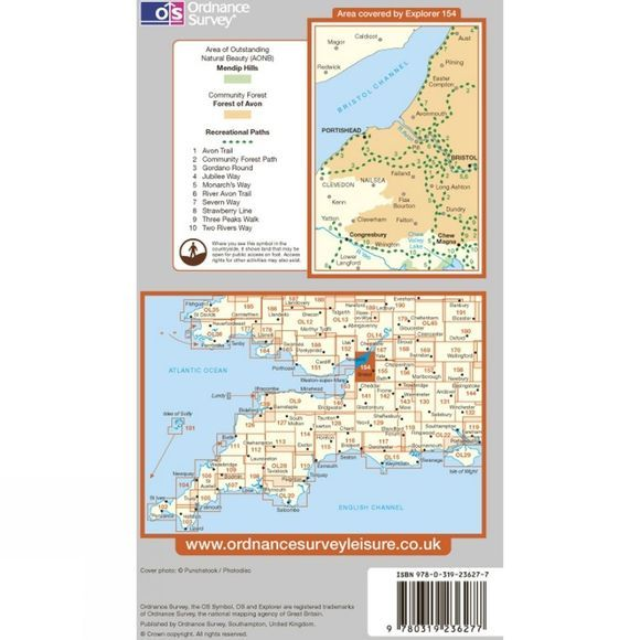 Ordnance Survey Explorer Map 154 Bristol West and Portishead .