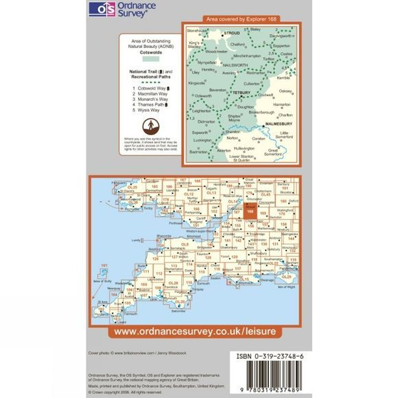 Ordnance Survey Explorer Map 168 Stroud, Tetbury and Malmesbury .