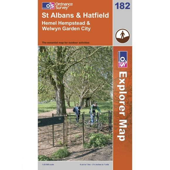 Ordnance Survey Explorer Map 182 St Albans and Hatfield .
