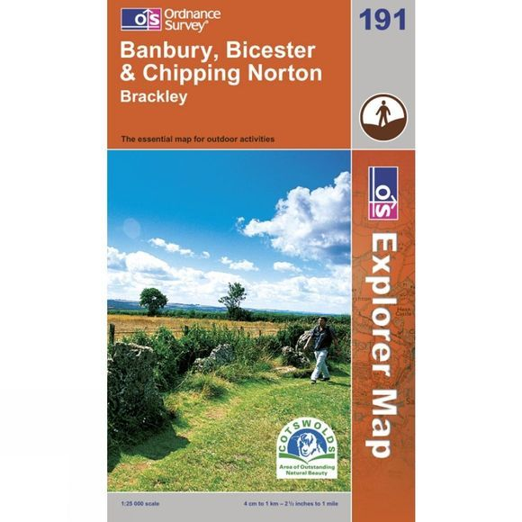 Ordnance Survey Explorer Map 191 Banbury, Bicester and Chipping Norton .
