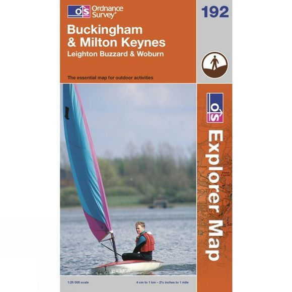 Explorer Map 192 Buckingham and Milton Keynes
