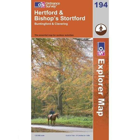 Ordnance Survey Explorer Map 194 Hertford and Bishops Stortford .