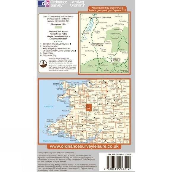 Ordnance Survey Explorer Map 216 Welshpool and Montgomery .