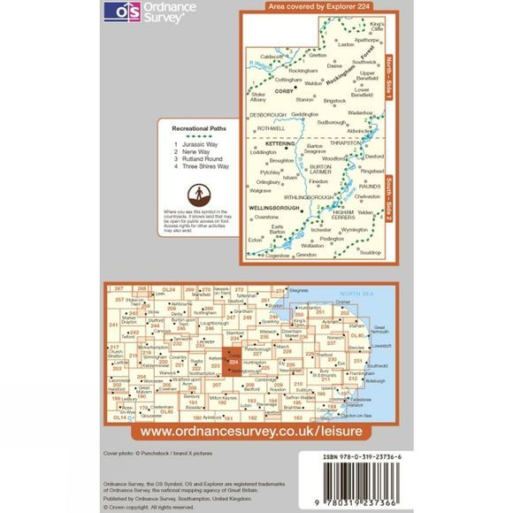 Ordnance Survey Explorer Map 224 Corby, Kettering and Wellingborough .
