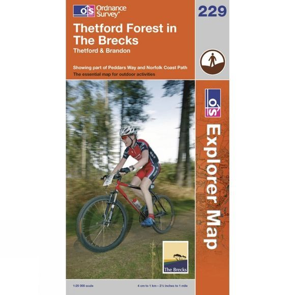Ordnance Survey Explorer Map 229 Thetford Forest in the Brecks .