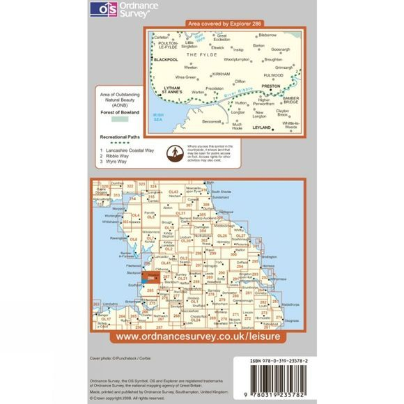 Ordnance Survey Explorer Map 286 Blackpool and Preston .