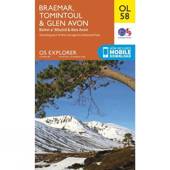 Ordnance Survey Explorer Map OL58 Braemar, Tomintoul and Glen Avon V15