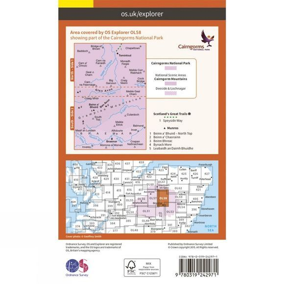Explorer Map OL58 Braemar, Tomintoul and Glen Avon