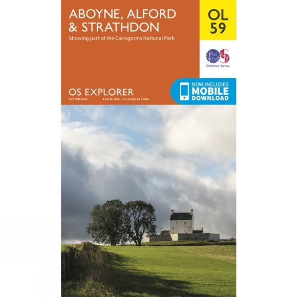 Ordnance Survey Explorer Map OL59 Aboyne, Alford and Strathdon V15