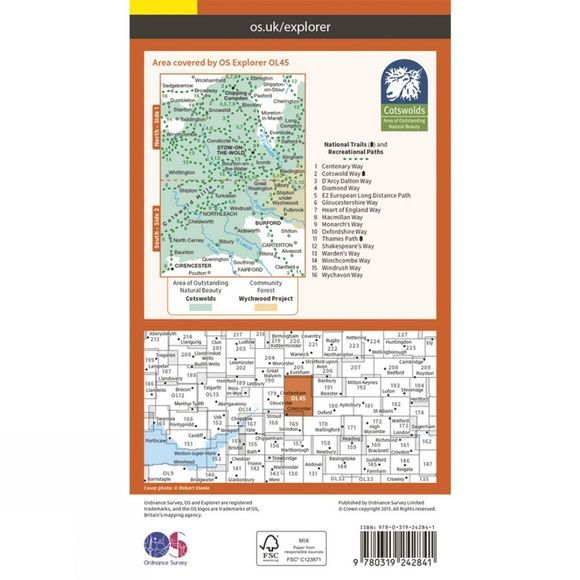 Ordnance Survey Cotswolds: Burford, Chipping Campden, Cirencester & Stow-On-The-Wold V15