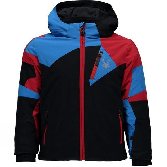 Spyder Boy's Mini Leader Jacket Black/ French Blue/ Red