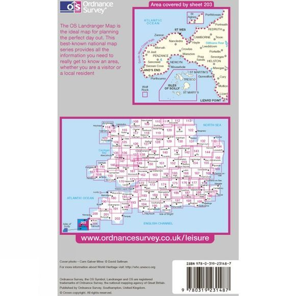 Ordnance Survey Landranger Map 203 Land's End and Isles of Scilly V13