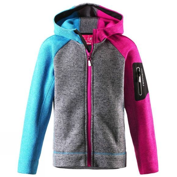 Reima Girls Lively Fleece Zip Hoodie 14+ Heather Grey/PInk/Blue
