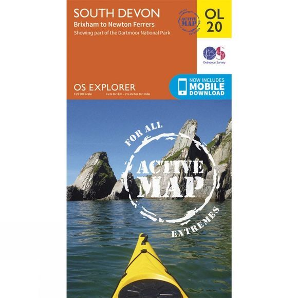 Ordnance Survey Active Explorer Map OL20 South Devon V15