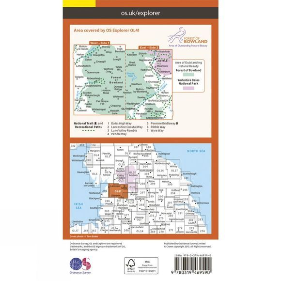 Active Explorer Map OL41 Forest of Bowland and Ribblesdale