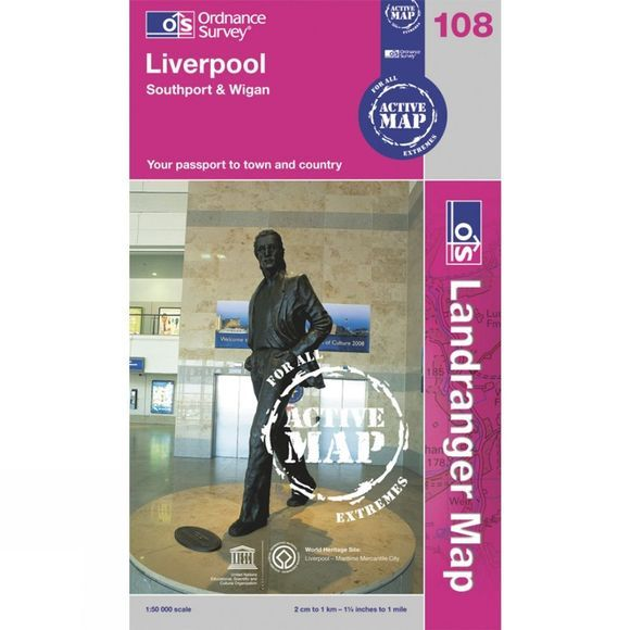 Ordnance Survey Active Landranger Map 108 Liverpool .