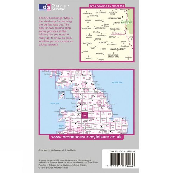 Ordnance Survey Active Landranger Map 118 Stoke-on-Trent and Macclesfield .
