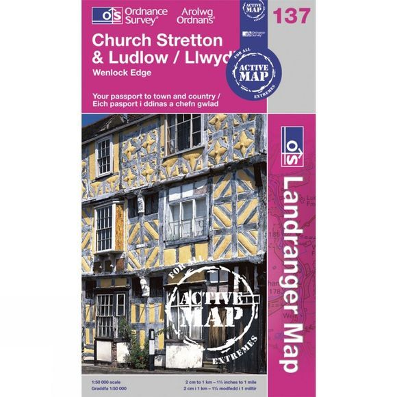 Ordnance Survey Active Landranger Map 137 Church Stretton and Ludlow .