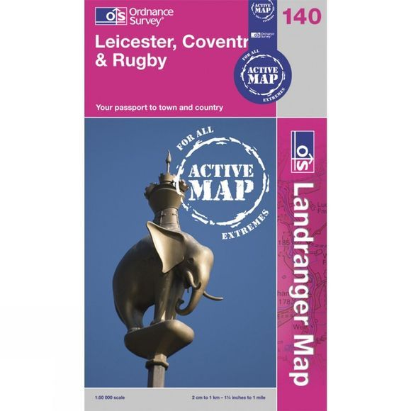Ordnance Survey Active Landranger Map 140 Leicester, Coventry and Rugby .