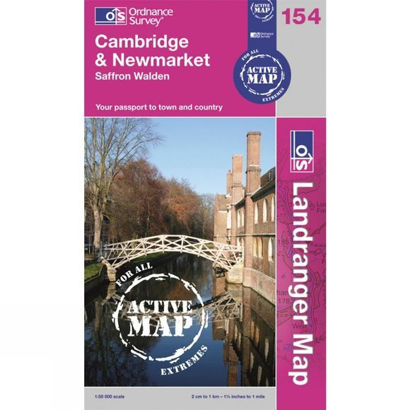 Ordnance Survey Active Landranger Map 154 Cambridge and Newmarket .