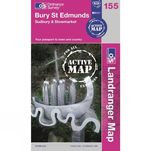 Ordnance Survey Active Landranger Map 155 Bury St Edmunds .