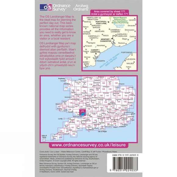 Ordnance Survey Active Landranger Map 171 Cardiff and Newport .