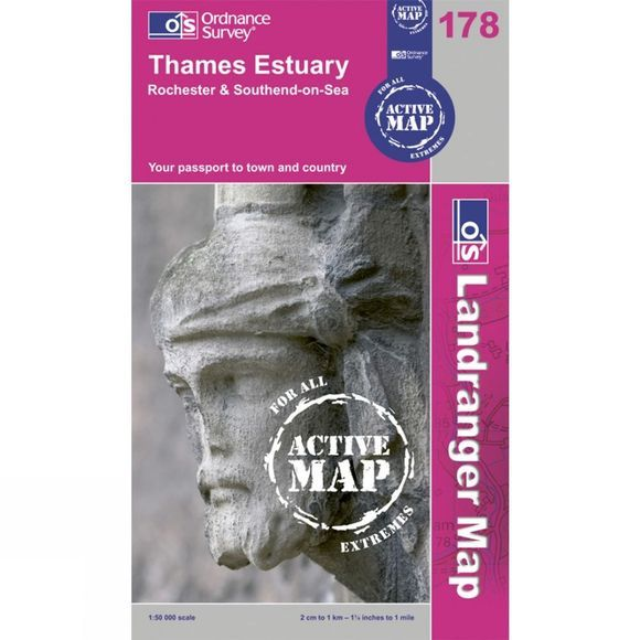 Ordnance Survey Active Landranger Map 178 Thames Estuary .