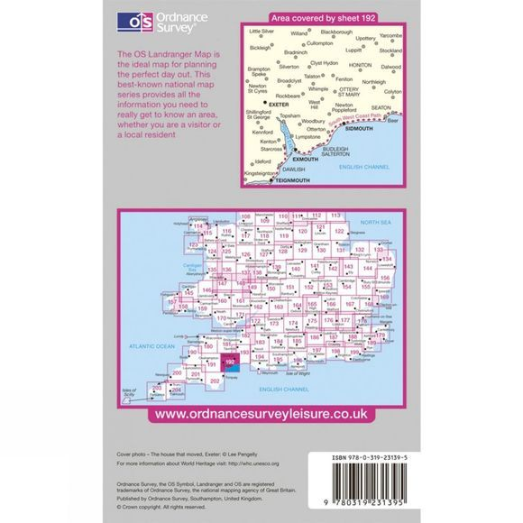 Ordnance Survey Active Landranger Map 192 Exeter and Sidmouth .