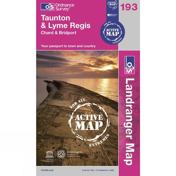 Active Landranger Map 193 Taunton and Lyme Regis