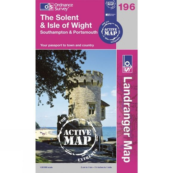 Ordnance Survey Active Landranger Map 196 The Solent and Isle of Wight .
