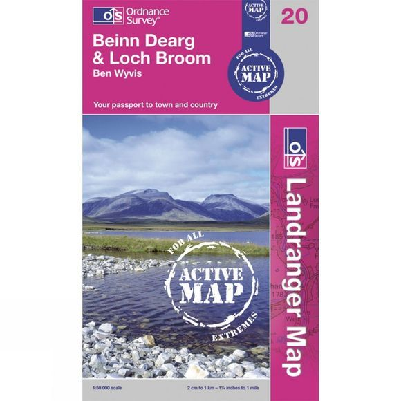 Ordnance Survey Active Landranger Map 20 Beinn Dearg and Loch Broom .