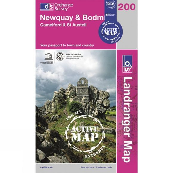 Active Landranger Map 200 Newquay and Bodmin