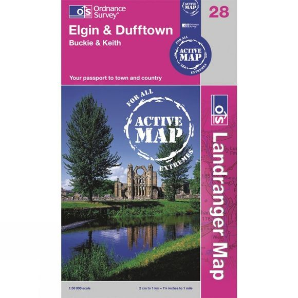 Ordnance Survey Active Landranger Map 28 Elgin and Dufftown .