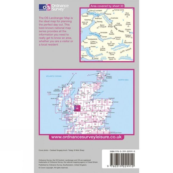 Ordnance Survey Active Landranger Map 33 Loch Alsh, Glen Shiel and Loch Hourn .