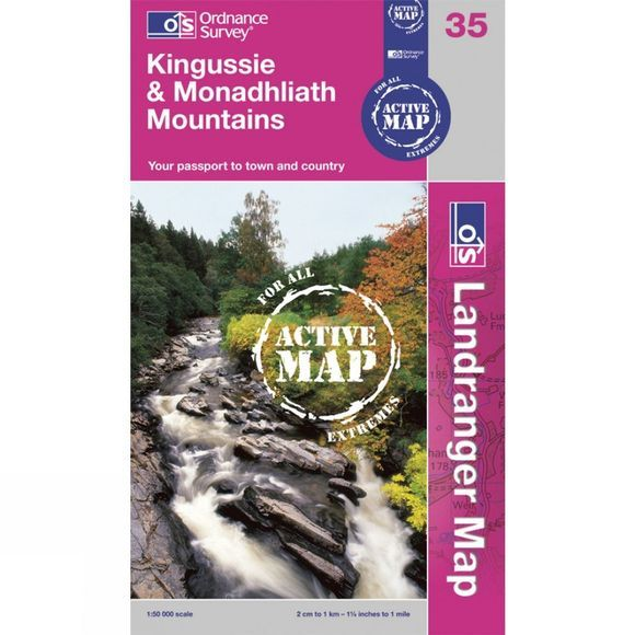 Ordnance Survey Active Landranger Map 35 Kingussie and Monadhliath Mountains .